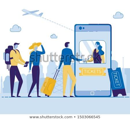 jegyek · repülőgép · okostelefon · utazás · repülőgép · internet - stock fotó © jossdiim