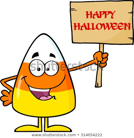 Funny Candy Corn Cartoon Character Holding A Wooden Board With Text Stock photo © hittoon