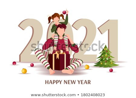 Merry Christmas And Happy New Year Greeting With Christmas Ball Cartoon Character And Numbers Stock photo © hittoon