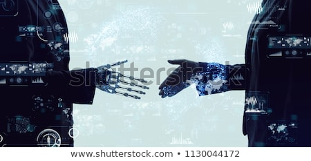 Foto stock: Mão · empresário · aperto · de · mãos · andróide · robô · humanismo