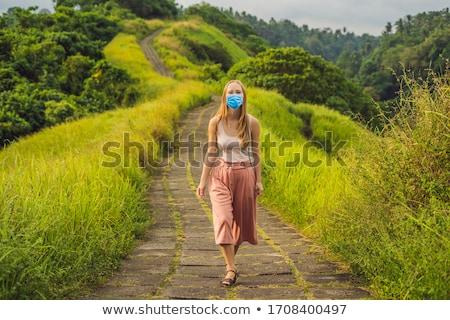 Jonge vrouw reiziger lopen schilderachtig groene vallei Stockfoto © galitskaya