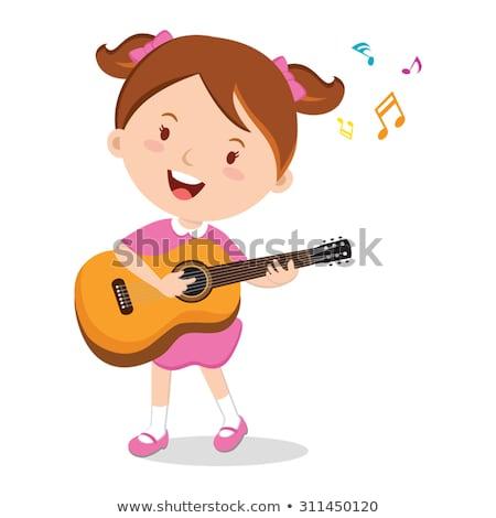 girl with guitar cartoon illustration stock photo © izakowski