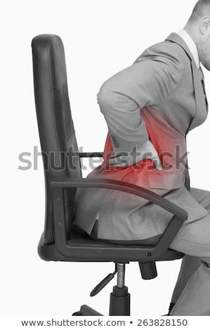 小さな ビジネスマン 腰痛 グレー 壁 ボディ ストックフォト © ichiosea