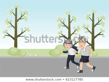 Jogger Old People Vector. Jogger Couple. Active Health Training. Illustration Stock photo © pikepicture