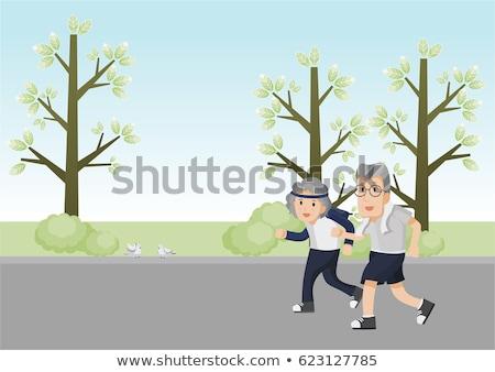 Corredora idosos vetor casal ativo saúde Foto stock © pikepicture