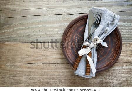 restaurant · menu · paars · vork · mes · lepel - stockfoto © blumer1979