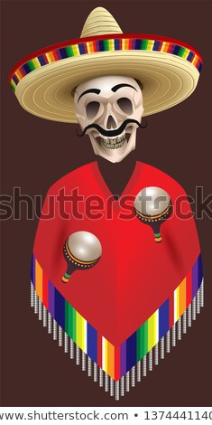 Human skull skeleton in sombrero and poncho hat holds two maracas. Cinco de Mayo mexican holiday Stock photo © orensila