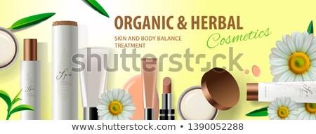 Organikus kozmetikai termékek szárított növénygyűjtemény hozzávalók kamilla Stock fotó © ikopylov