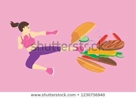 woman destroys fast food burger stock photo © rogistok