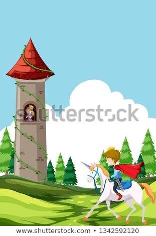 Foto stock: Príncipe · cavalo · cena · ilustração · festa · crianças