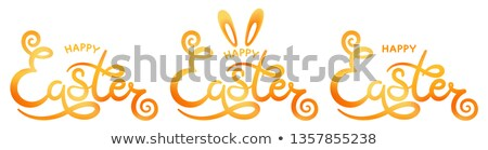 Set of hand sketched Happy Easter text as Pascha logotype, icon and bange. Vector illustration. Stock photo © brahmapootra