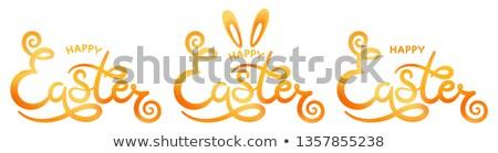 Szett kéz kellemes húsvétot szöveg logotípus ikon Stock fotó © brahmapootra
