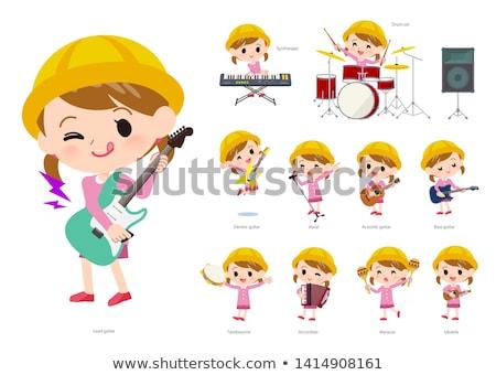 Nursery school girl_pop music Stock photo © toyotoyo