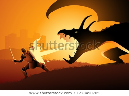Fire breathing dragon in castle scene Stock photo © bluering