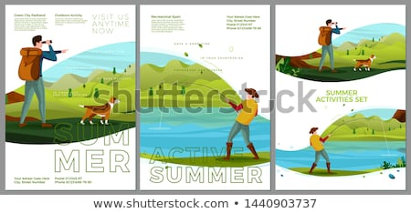 Banner template with kids by the pond stock photo © colematt