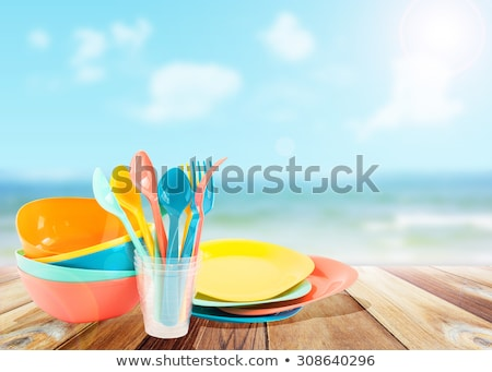 Kleurrijk plastic gerechten zomer picknick partij Stockfoto © furmanphoto