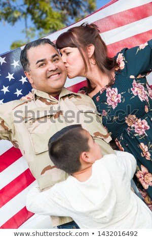 Male Hispanic Armed Forces Soldier Celebrating His Return Holdin Stock photo © feverpitch