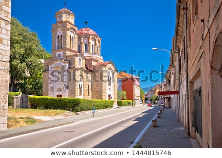 Cidade ortodoxo igreja vista para a rua dálmata região Foto stock © xbrchx