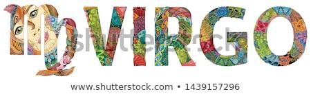 Stock fotó: állatöv · felirat · aranyos · rajz · karakter · retro
