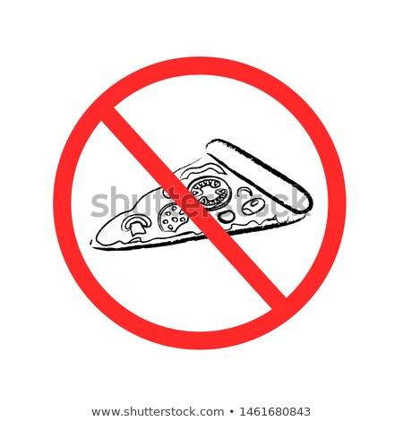drawn fast food pizza prohibition sign stock photo © romvo