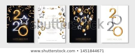 nouvelle · année · carte · de · vœux · bannière · vecteur · jaune - photo stock © pikepicture