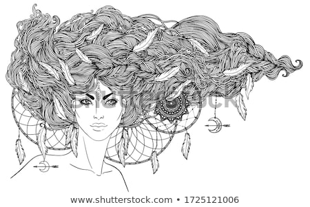 Aztec Feathered Headdress Drawing Black and White Stock photo © patrimonio