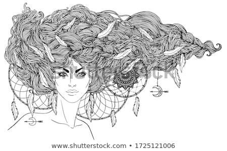 aztec feathered headdress drawing black and white stock photo © patrimonio