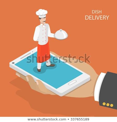 Alimentaire livraison chef téléphone pop art rétro Photo stock © studiostoks