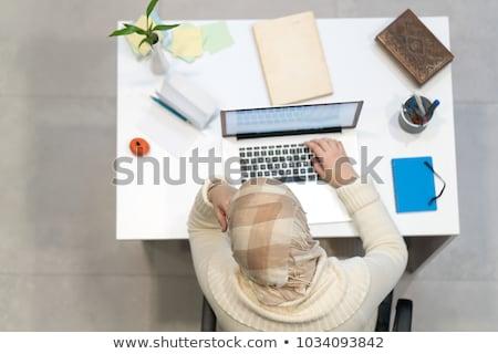 Type arab werk ingesteld meisje bureau Stockfoto © toyotoyo