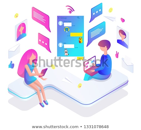 Beszéd hírnök app okostelefon laptop férfiak Stock fotó © robuart