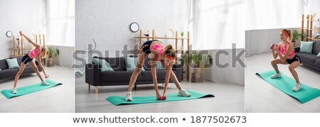 Fitness Websites, Squats and Bicycle Exercise Stock photo © robuart