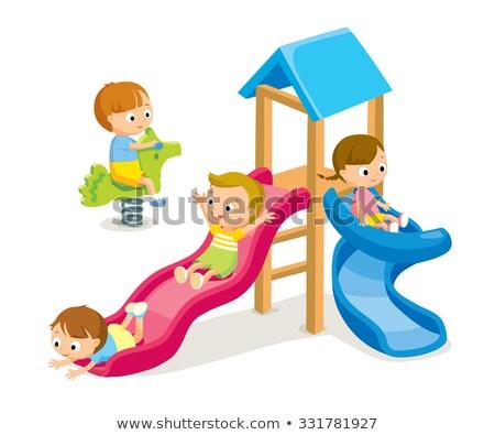 Luminoso slide parco giochi scuola dell'infanzia vettore decorato Foto d'archivio © robuart