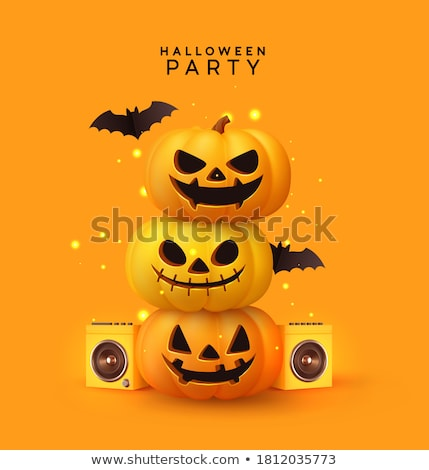 yellow happy halloween background with flying bats Stock photo © SArts