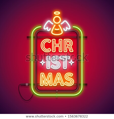 christmas vertical neon sign red with angel stock photo © voysla