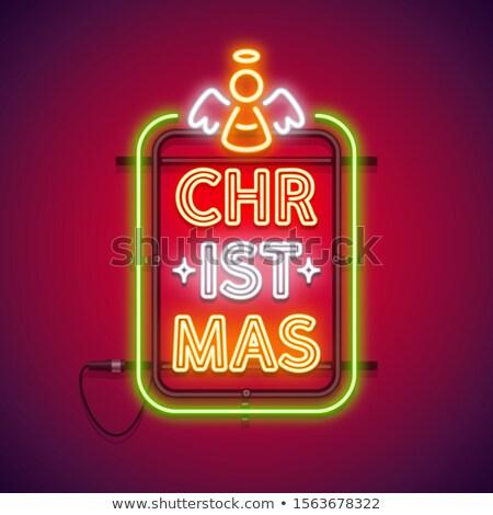 Karácsony függőleges neonreklám piros angyal izzó Stock fotó © Voysla