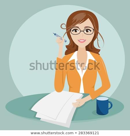 Girl Teacher Thinking Illustration Stock photo © lenm