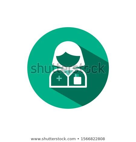 Pharmacist woman icon with shadow on a green circle. Vector pharmacy illustration Stock photo © Imaagio