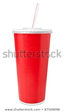 Rosso fast food bere coppe paglia blu Foto d'archivio © make