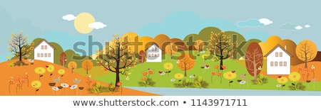 Dorf Häuser Herbst Laub Bäume Berge Stock foto © Arsgera