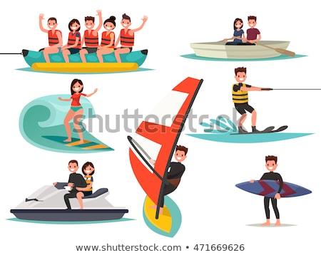 Víz jókedv emberek vízpart windszörf repülőgép Stock fotó © robuart