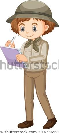 Mädchen Safari schriftlich beachten weiß Illustration Stock foto © bluering