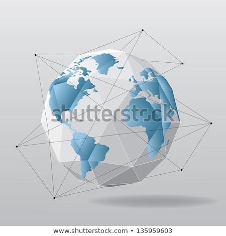 Stockfoto: Blauw · wereld · witte · grijs · 3D