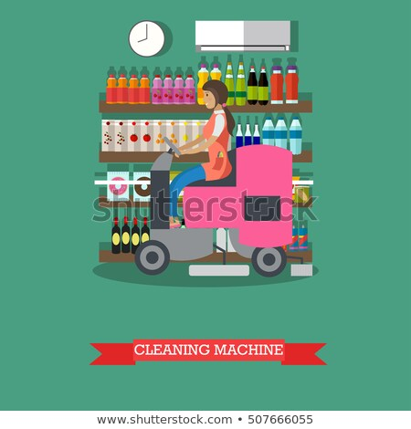 Woman Cleaning Store Floor with Machine Vector Stock photo © robuart
