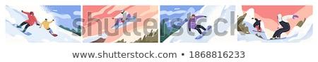 Activiteit mannelijke snowboarden vector glimlachend karakter Stockfoto © robuart