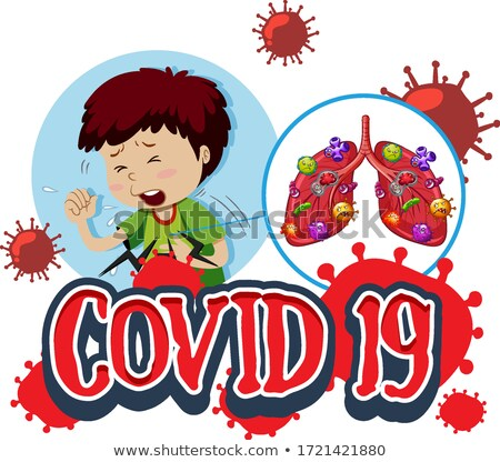 Font design for word covid-19 with boy and bad lungs Stock photo © bluering