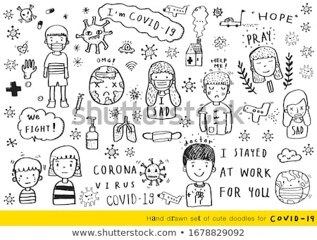 Covid 19 sign template with sick children Stock photo © bluering