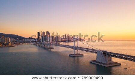 Gwangan Bridge on sunrise. Busan, South Korea Stock photo © dmitry_rukhlenko