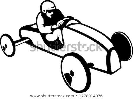 Soap Box Derby or Soapbox Car Racer Racing Retro Black and White Stock photo © patrimonio