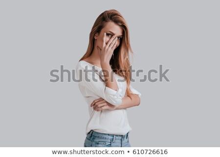 привлекательный · рук · лице · портрет · красивой - Сток-фото © williv