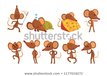 cartoon · mouse · bolla · di · pensiero · texture · mano · felice - foto d'archivio © pkdinkar